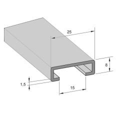 Aluminium rail 22/15mm