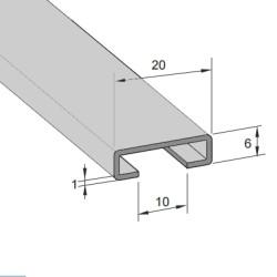 Aluminium rail 18/10mm