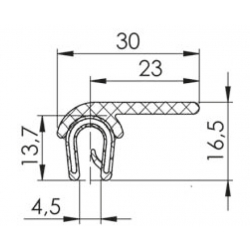 Edge Trim 4-5mm w. flange