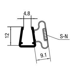 Showerprofile 90° magnetic door