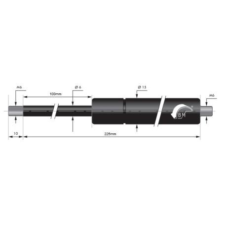 Gasspring 100mm 6/15mm