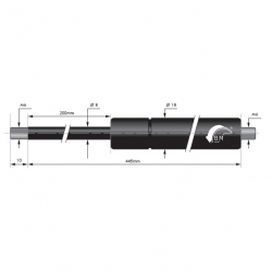 Gasspring 200mm 8/18mm