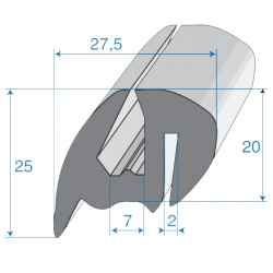 G6-7/P2mm S-Type Window Profile
