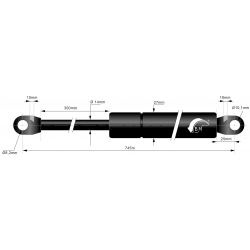 Gasspring 300mm 14/27mm